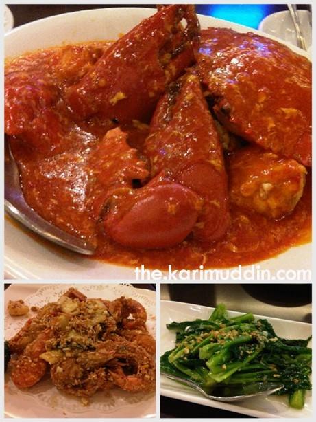 chili crab, udang telur asin, kailan bawang putih